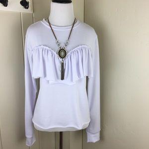 White ruffle layered long sleeve top