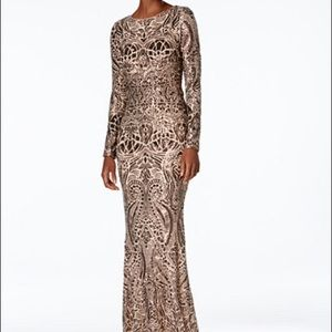 Betsy and Adam sequined dress bronze