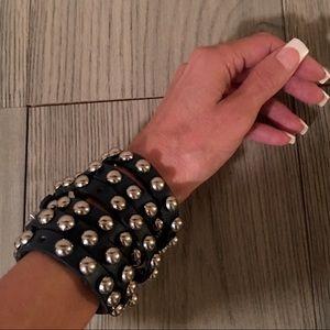 Jewelry - Navy Blue leather stud bracelets