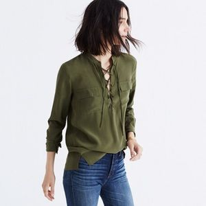 Madewell Silk Lace-up Shirt in Khaki Green Sz M