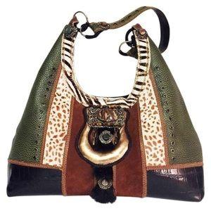Mary Frances patchwork fur hobo handbag