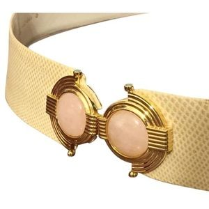 Judith Leiber rose quartz Egyptian revival belt
