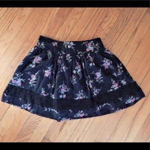 Charlotte Russe Black and Pink Floral Skirt Sz XS