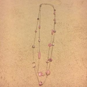 Pretty pink long necklace - two strands