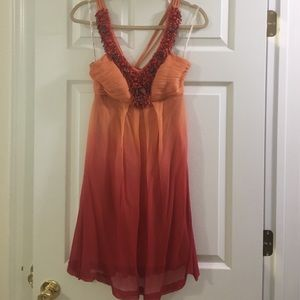 Sue Wong coral beaded silk dress