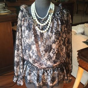 Tops - Victor Costa XL Black Lace over Nude Blouse, Flowy