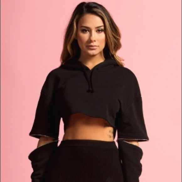 Black Cut Off Elbow Oversized Cropped Hoodie Boutique