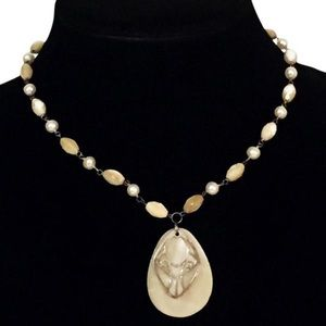 Jewelry - 925 sterling silver LUC pendant beaded necklace