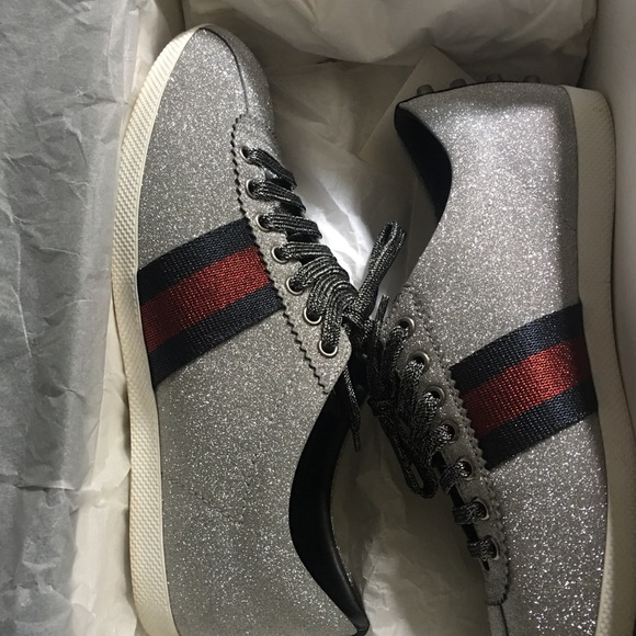 d35f485b3d3 Gucci Other - Gucci glitter web sneakers with studs 2017