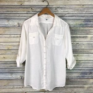 Cabi #982 White Linen Button Up Blouse