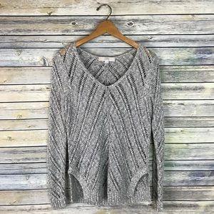 Loft Grey Chunky Pointelle Knit Sweater