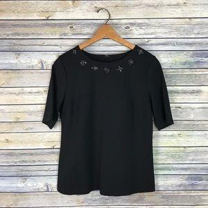 Talbots Black Jeweled Neckline Stretch Blouse