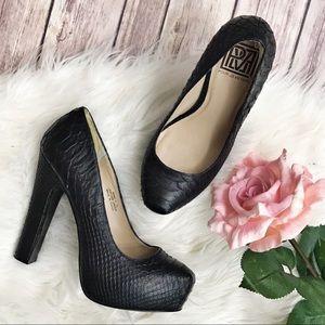 Pour La Victoire Irina Black Snake Platform Heels