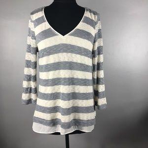 New White House medium open slit sweater