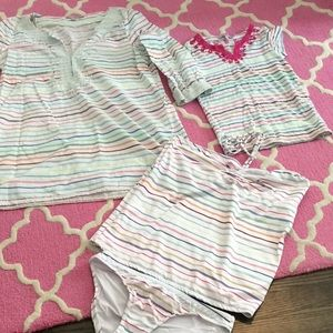 Calypso multicolor stripped mommy and me Bundle