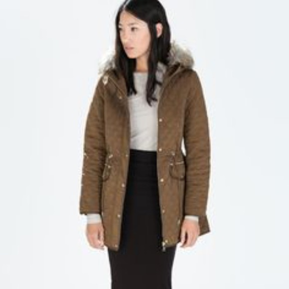 Zara Jackets Coats Woman Long Quilted Jacket With Faux Fur Hood