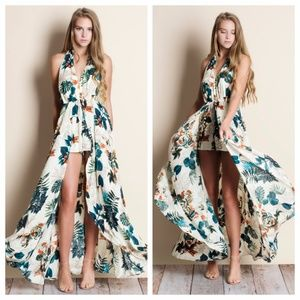 Floral Print Backless Maxi Romper