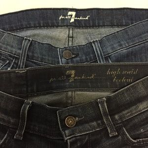 7 For All Mankind 2 Pair High Waist Bootcut Jeans