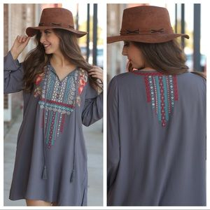 Charcoal embroidered tassel tie front tunic dress