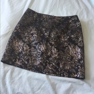 Black and Silver Brocade Mini Skirt NWT