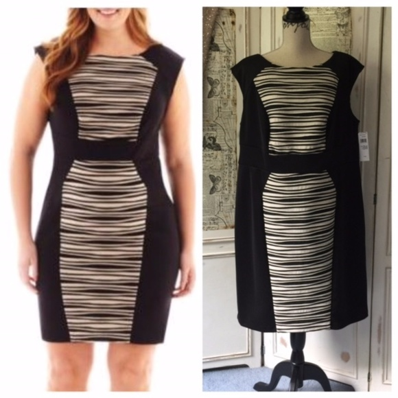 0f4149da81f Studio One Cap-Sleeve Print-Panel Sheath Dress 18W