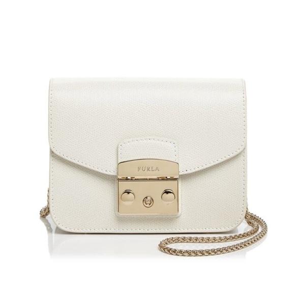 1011674443ff Furla Handbags - Furla White Mini Metropolis Chain Crossbody Bag