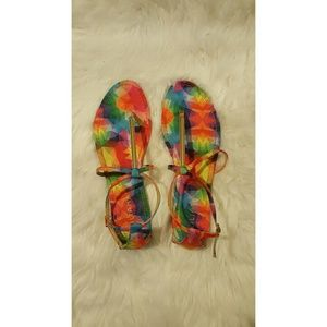 454cef55626a GoJane Shoes - Chic Choice Rainbow T-strap Sandals (NWOT)