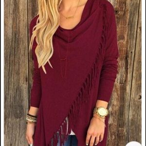 Burgundy asymmetrical cape jacket coat with fringe
