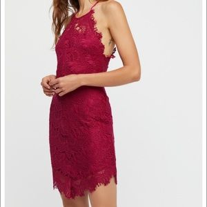 XS free people dark pink lace slip, worn once