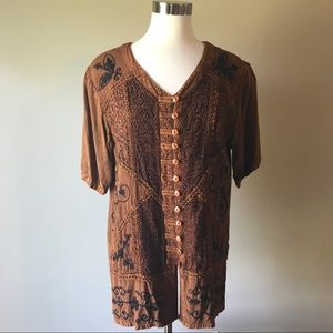 Vintage Bronze Embroidered Button Down Tunic