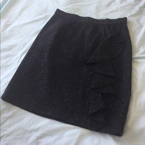 BB Dakota Tweed Pencil Skirt with Ruffle Detail