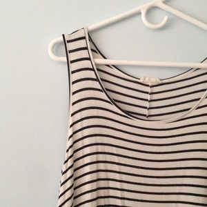 Navy and white striped swingy tank dress