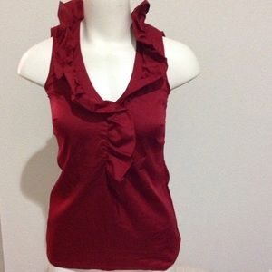 Ann Taylor NWT Red Ruffle V Neck Sleeveless S M