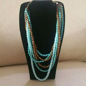 Jewelry - Six strand 30 inch necklace with turquoise & Wood