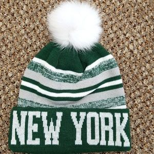 A.J. Ugent Furs Accessories - New York Knit Hat with Fox Fur Pom