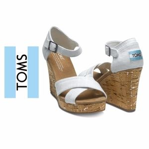 Toms White Canvas Sandal Cork Wedges Heels Size 7