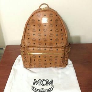 Mcm Backpack Medium Brown Authentic