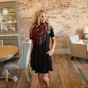 Infinity Raine Accessories - Burgundy ivory Cross pattern fringe infinity scarf