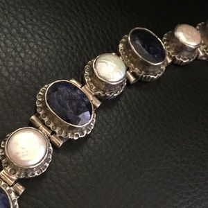 Jewelry - 925 Sterling silver sapphire mother pearl bracelet
