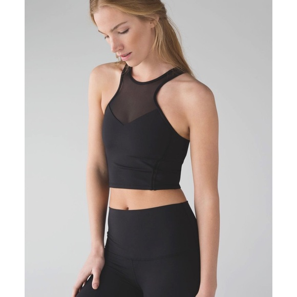46d5ba8eed1a2 lululemon athletica Tops - Lululemon black mesh racer front bra crop top