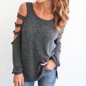 Tops - Gray dark shoulder T shirt