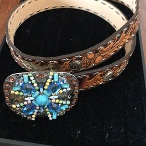Accessories - Real leather and snakeskin cowgirl belt
