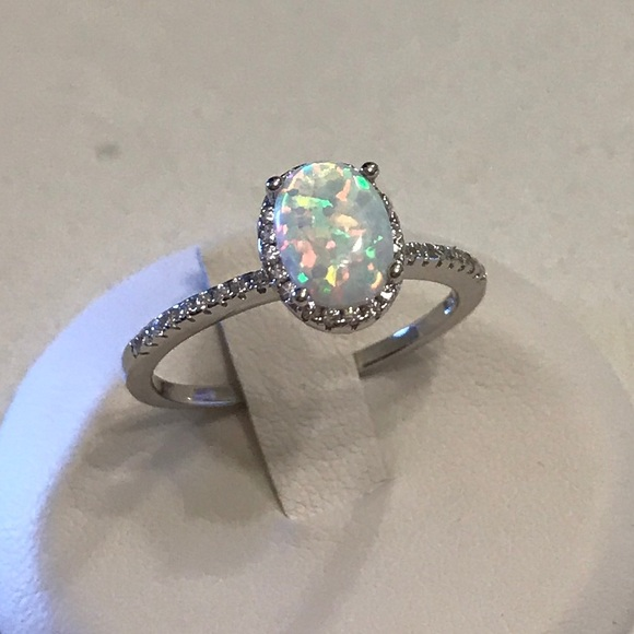 Ring Sterling Silver 925 White Lab Opal Clear CZ Jewelry Face Height 6 mm Size 7