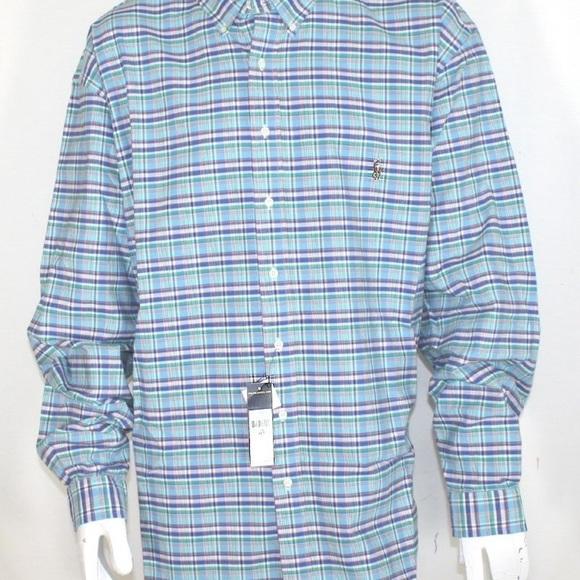 e2d20236d New Ralph Lauren Men s Blue Plaid Shirt 4LT
