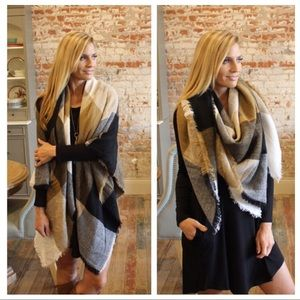 Black beige and ivory square pattern blanket scarf