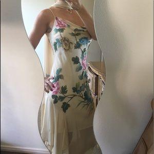 Sue Wong Silk Chiffon Beaded Dress W/ Tassled Sash