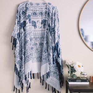 Tops - Elephant Tassel-Trim Kimono