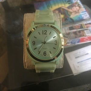 Anthropology teal and gold watch