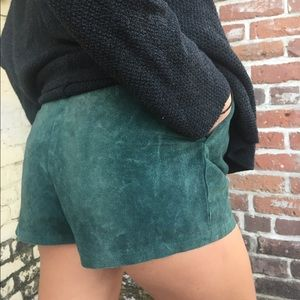 Vintage Shorts - Vintage Green Suede Leather High Wasted Shorts
