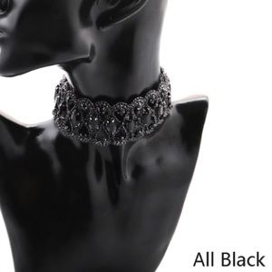 Black bead and crystals choker necklace